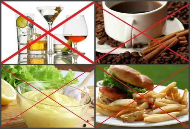 Также исключаются пряные и острые блюда, поскольку такая пища увеличивает проницаемость сосудистой стенки, что приводит к усилению всасывания вредных веществ